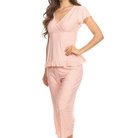 Tee and Capri Sleep Set - Pink Leaopard - Marilyn Monroe Fashion Go