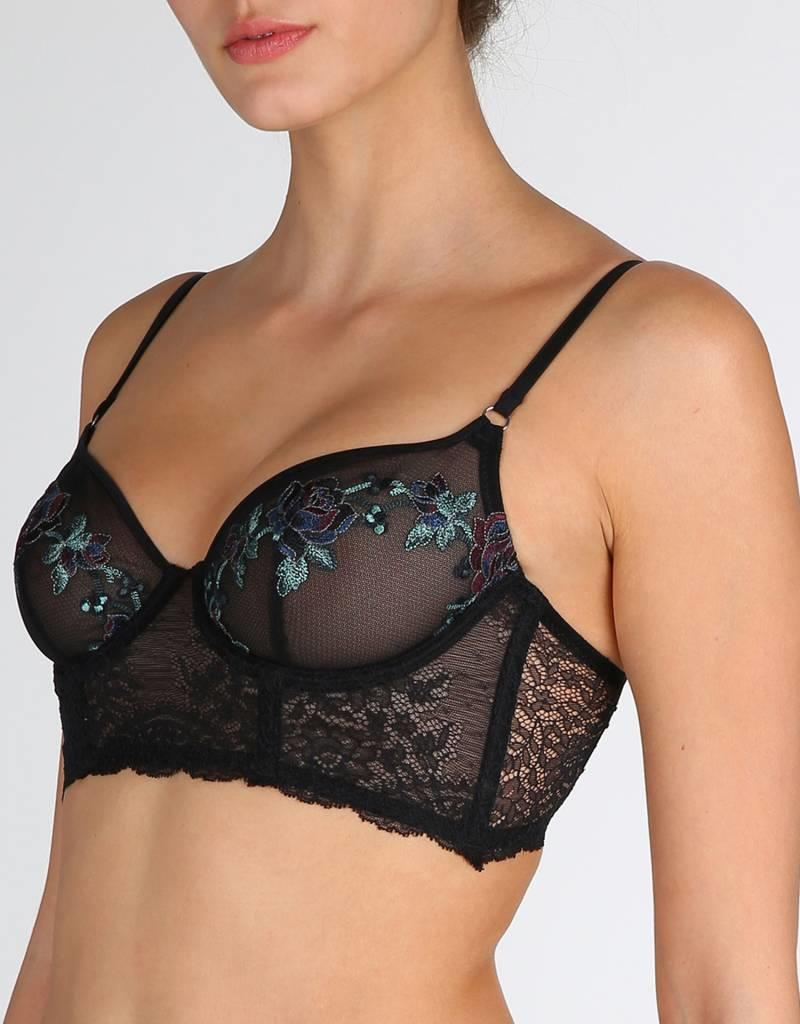 Marie jo Dahlia Non-Molded Longline Floral Embroidered Bra