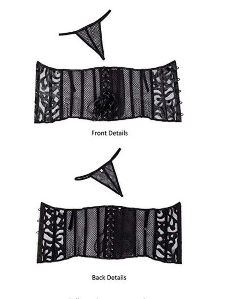 Black Lazer Cut Underbust Corset and Gstring- Alivila