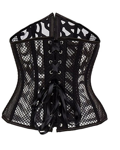 Black Lazer Cut Underbust Corset and Gstring- Alivila