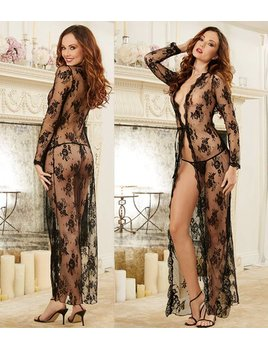 DreamGirl Black Lace Long Robe - Dreamgirl 10095 Black