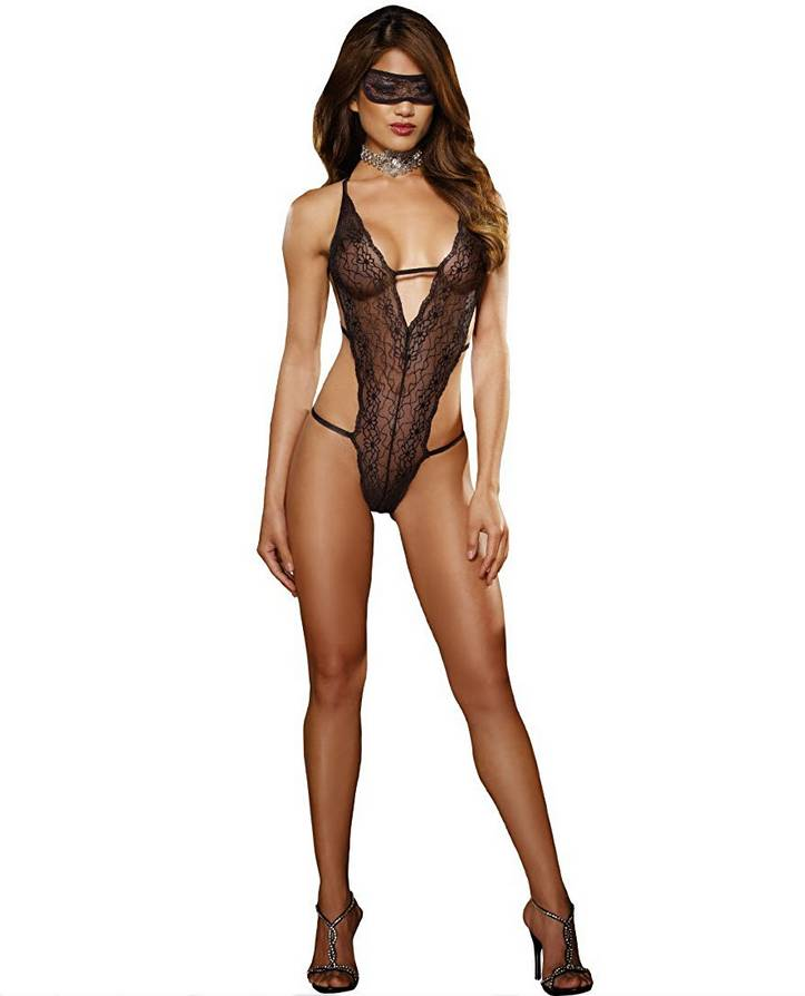 DreamGirl Lace Teddy with Mask - Dreamgirl 7993