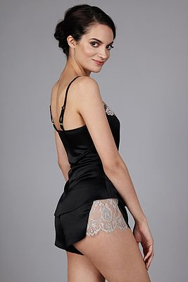The Giving Bride Silk Cami and Tap short - Black with Silver Lace - The Giving Bride TWO PIECE SET