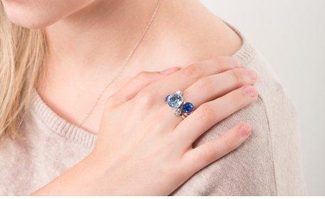 Liza Stacking Ring - three piece - Azure (sz 7)