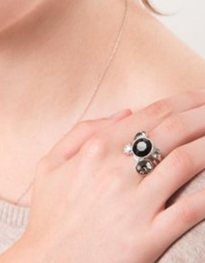 Liza Stacking Ring - three piece - Jet black (sz 7)