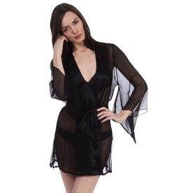 Samantha Chang Crinkle Silk Chiffon Yukata Robe with Charmeuse Trim - S Chang - SC518023 - O/S
