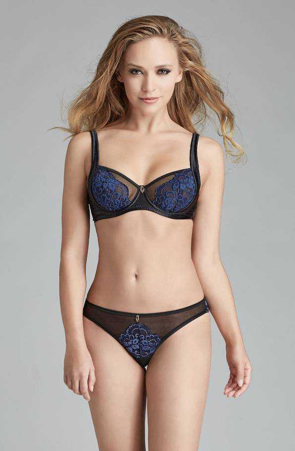Escora Black and Navy Lace Back Thong - Escora