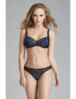 Escora Black and Navy Side Shelf Bra - Escora