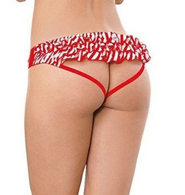 DreamGirl Red and White Stripe Ruffle Open Back Panty - Dreamgirl 1418