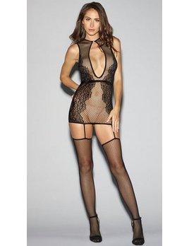 DreamGirl Dreamgirl Body stocking - Fishnet Dress  wth Keyhole