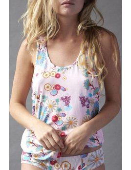 Clio Pink Flower Tank and Lounge Pant - Clio  TWO PIECE SET