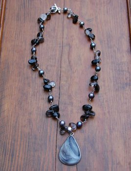 Sealy Agate and Smokey Quartz Necklace