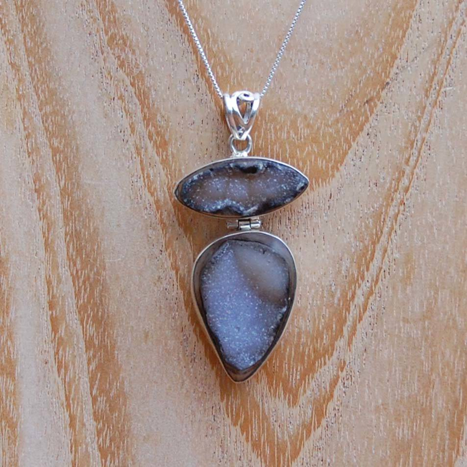 Sealy Double Druzy Silver Pendant Necklace
