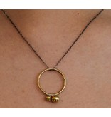 Kiersten Crowley Bubble Circle Necklace - Oxidized & Brass