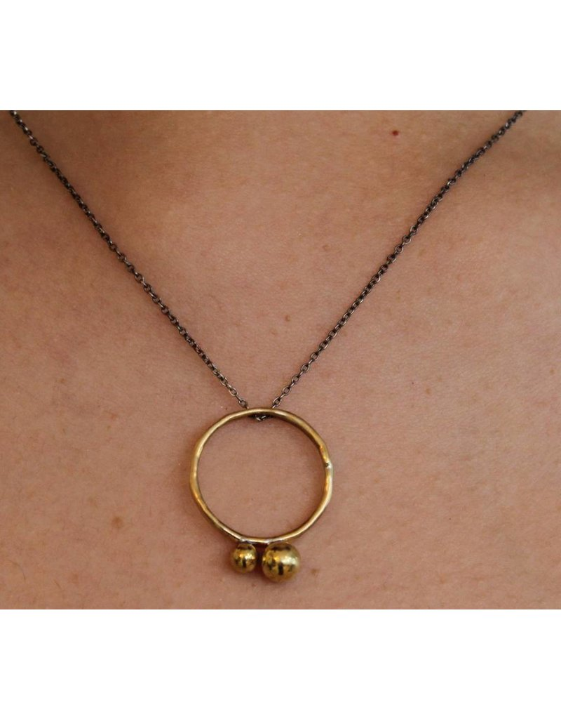 Kiersten Crowley Bubble Circle Necklace - Oxidized & Brass