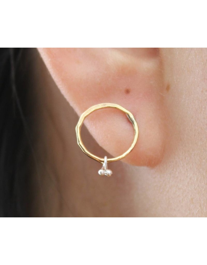 Kiersten Crowley Petite Bit Circle Stud - Brass