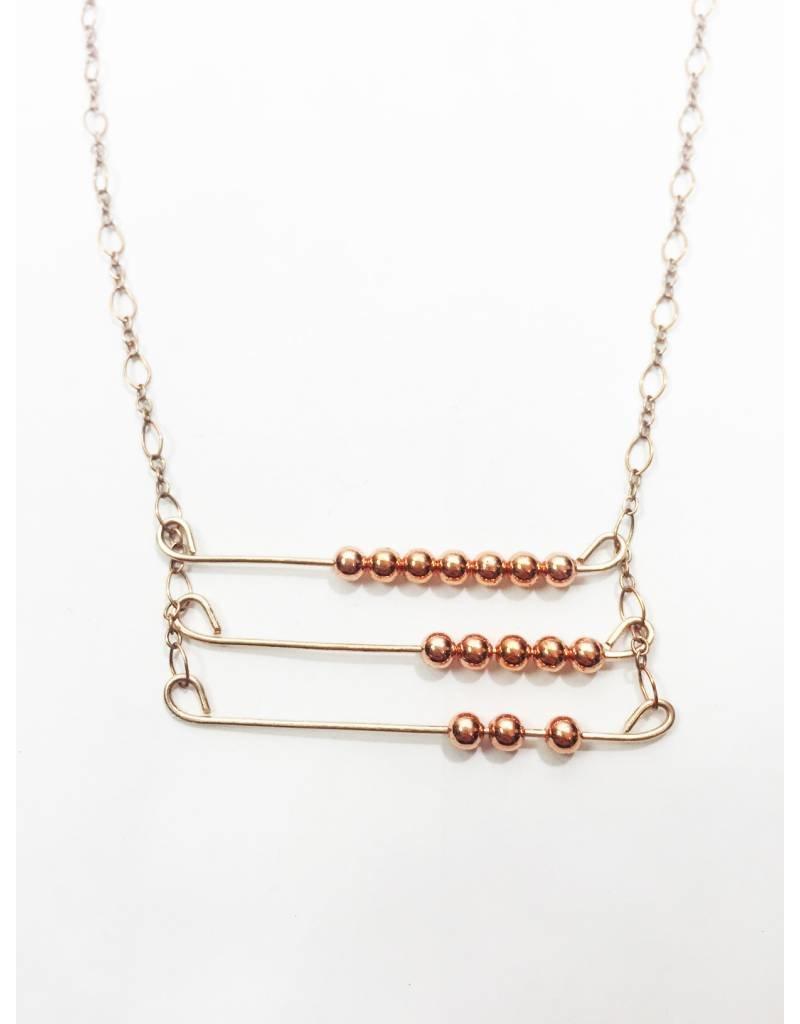 Mon Coeur Venteux Triple Row Copper Necklace