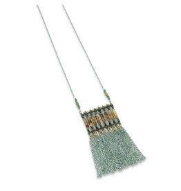 Elise M. Luna Square Tassel Necklace- Multi