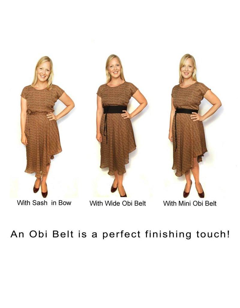 Sarah Bibb Mini Obi Belt  - Navy Lattice