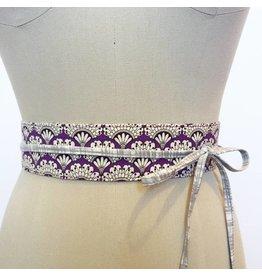 Sarah Bibb Mini Obi Belt - Purple Fan