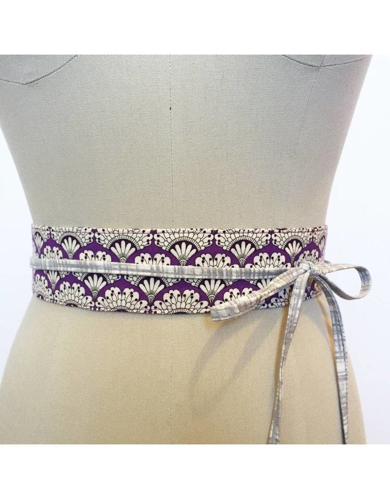 Sarah Bibb Mini Obi Belt - Purple Fan
