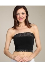 M Rena Cropped Lace Bandeau Top - Black