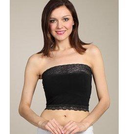 M Rena Cropped Lace Bandeau Top - Black