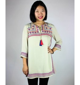 Embroidered Boho Keyhole Tunic