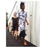 Sarah Bibb Nina Midi Fringe Dress - Sumi Ink