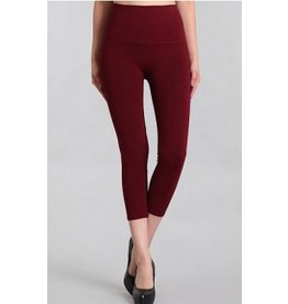 M Rena Tummy Tuck Cropped Leggings by M Rena - Burgundy