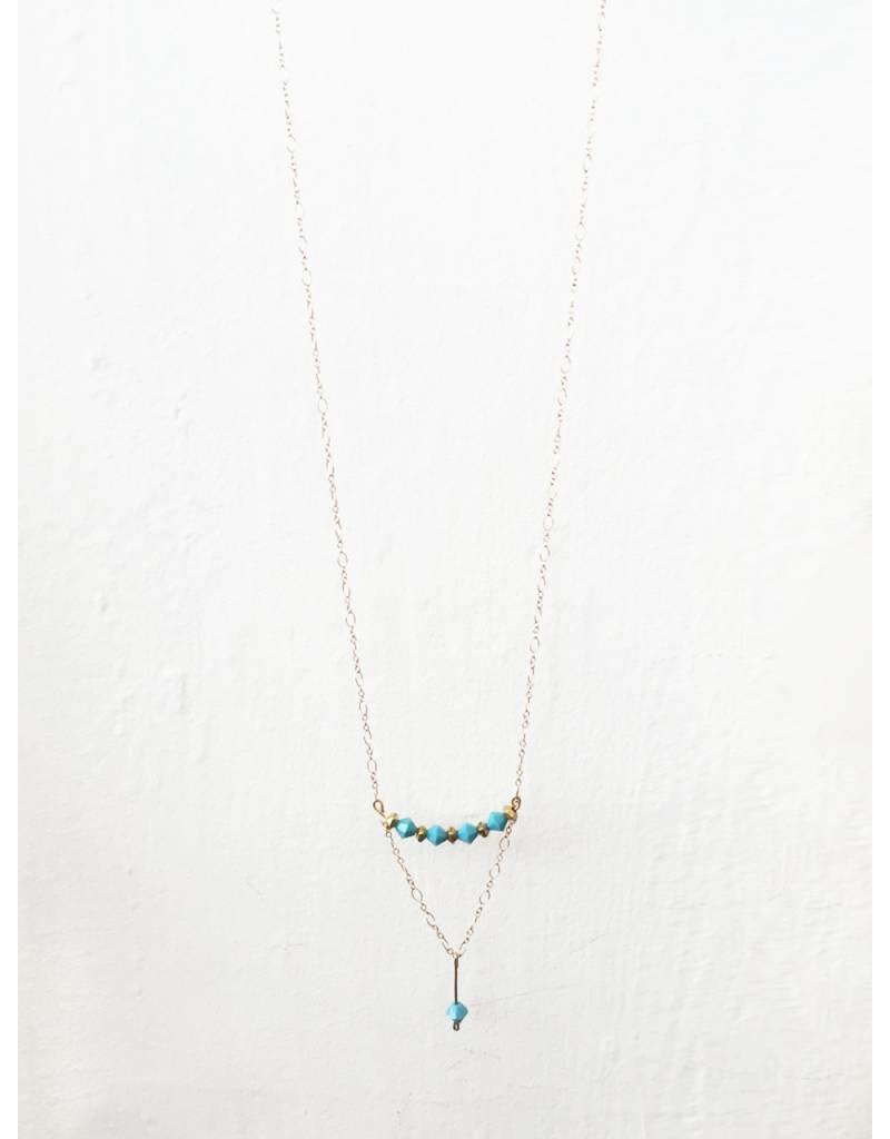 Mon Coeur Venteux Dangle Turquoise Necklace