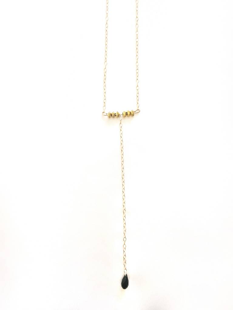 Mon Coeur Venteux Brass and Black Tear Drop Necklace