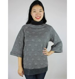 Tulle Hem Turtle Neck Sweater - Grey Dot