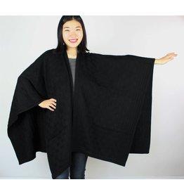 Trimmed Cashmere Blend Wrap - Black