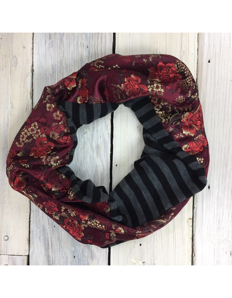 Sarah Bibb Single Loop Infinity Scarf - Stripe/China Wine