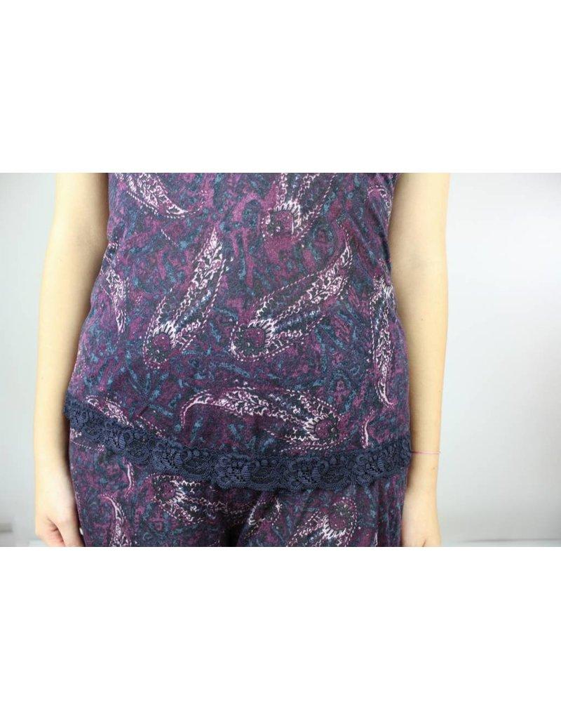 Sarah Bibb Morgan Cami and Short Lounge Set - Purple Paisley