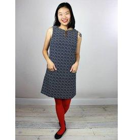 Sheila Jumper Dress - Navy Zig-Zag