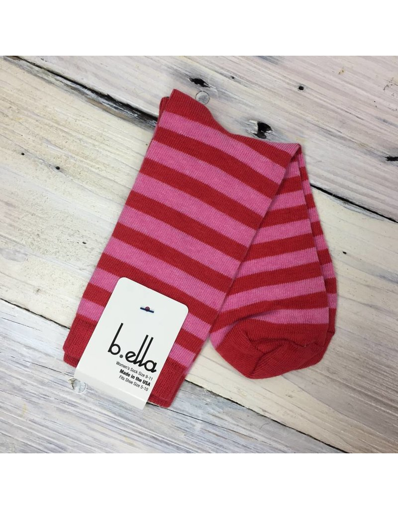 B. Ella Cotton Striped Socks- Coral