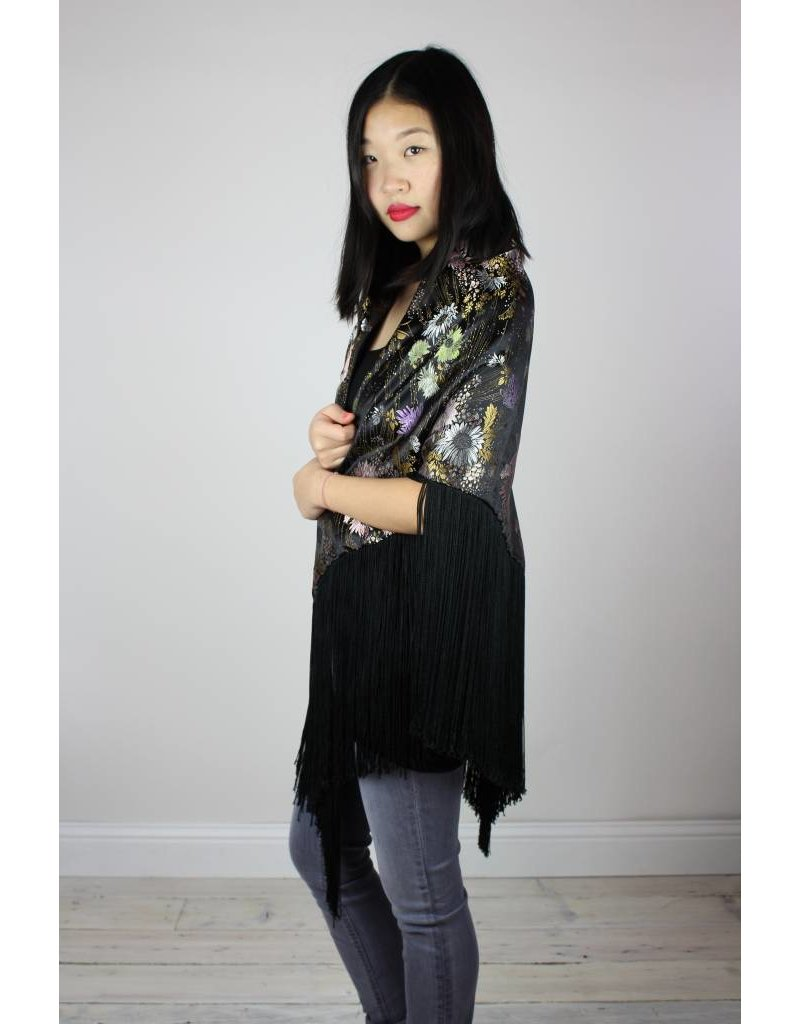 Sarah Bibb Stevie Silk Fringe Wrap - Black Floral
