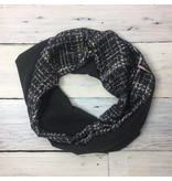 Sarah Bibb Single Loop Infinity Scarf - Grey Grid/Charcoal