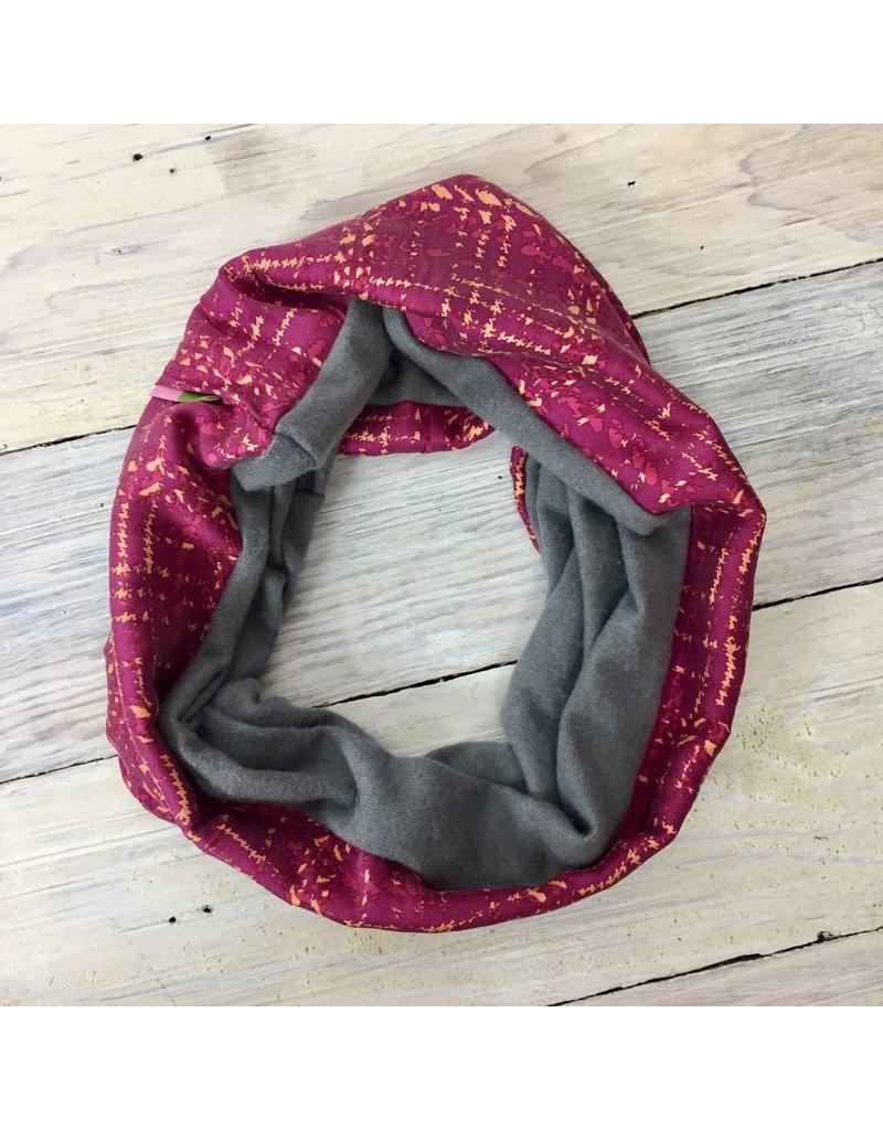 Sarah Bibb Single Loop Infinity Scarf - Pink Grid/ Soft Grey