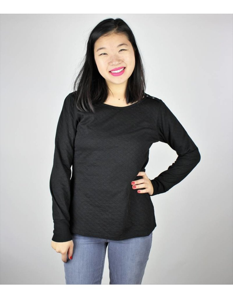 Long Sleeve Quilted Top - Black