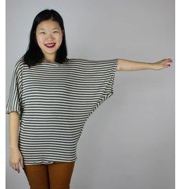 Sarah Bibb Sarah Top - Ivory and Grey Stripe