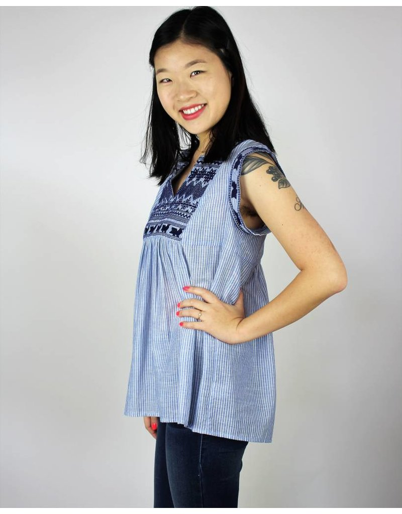 Jeri Embroidered Top - Blue Cotton