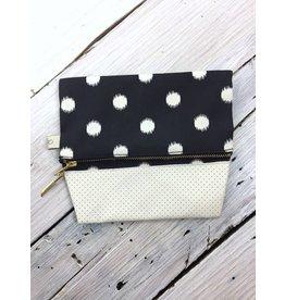 Canvas Snap Bag - Black Dot
