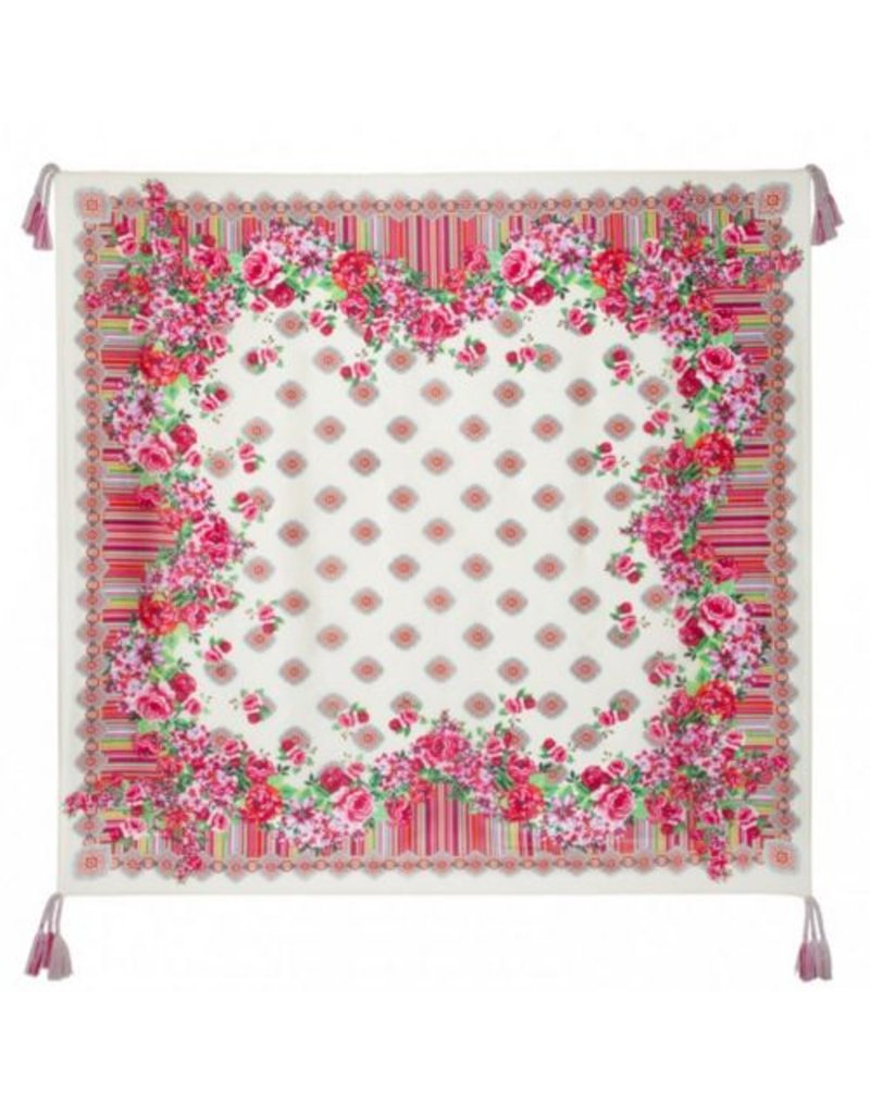 Johnny Was Silk Tassel Scarf - Rose Lace
