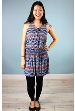 Veronica M. Kimmie Lace Up Dress - Blue Tribal