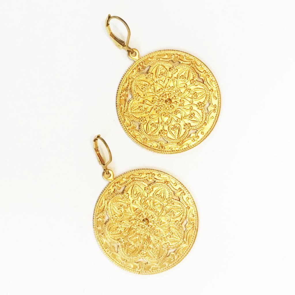 Nicole Weldon Brass Filigree Disc Earrings