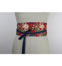Sarah Bibb Obi Belt - Red Floral