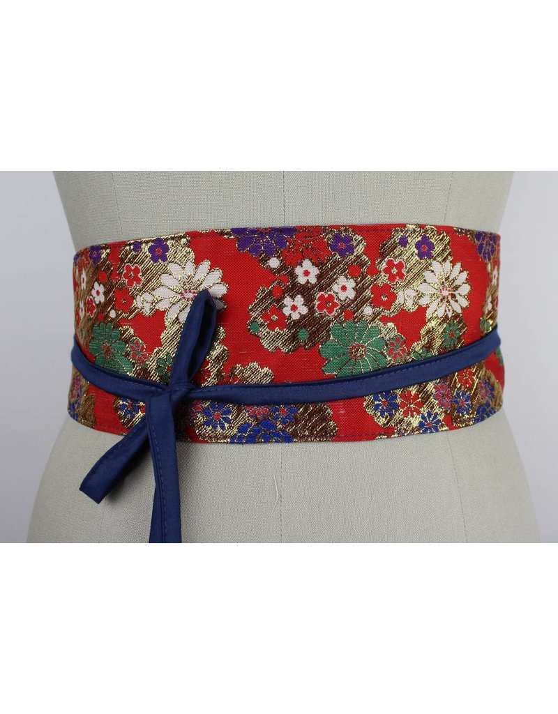 Sarah Bibb Obi Belt - Red Floral